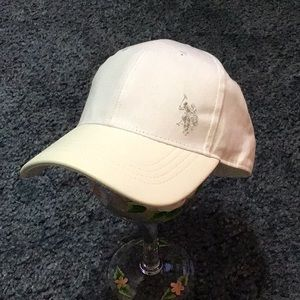 U.S. Polo Assn. Hat snap back White leather bill